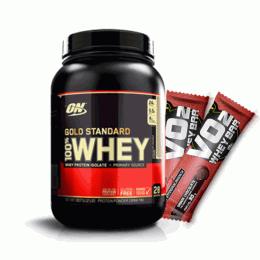 100% Whey Protein Gold Standard (909g) + 2 Vo2 Slim Bar (30g)